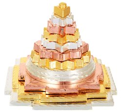 Kesar Zems Zinc Ganga Jamna Saraswati Meru Prusth Shree Yantra (7.5 cm x 7.5 cm x 7.5 cm)
