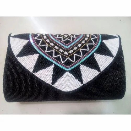 Black and White Canvas,Plastic Beads Fancy Beaded Shoulder Bag