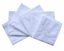 White Embroidered Ladies Soft Cotton Handkerchief, Size: 20x20 Cm