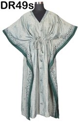 Vintage Recycled Saris Women's Long Kaftan Dr49s