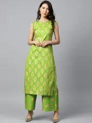 Green Printed Sleeveless Cotton Kurta With Green Printed Palazzo