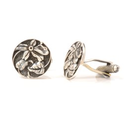 Antique Flower Design Cufflinks In Oxidized Silver