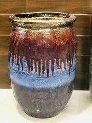 golden with blue Glossy ceramics planters interior and exterior decor, For Home