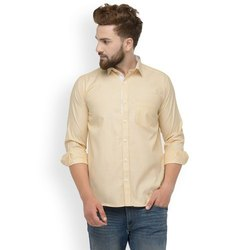 Mens Beige Cotton Shirt