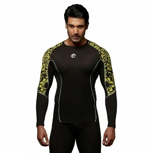 Omtex Full Sleeve Floral Yellow Compression T-Shirt