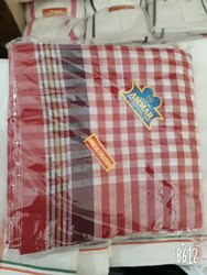 Red N White Cotton Gamchha, Size: 28x64