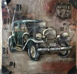 Honeydew Route 66 Embossed Canvas Wall Art, Packaging Type: Box