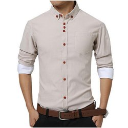 Z Holk Collar Neck Mens Fashion Plain Cotton Shirts, Size: M-XXL