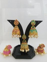 Rajwada Mint Jhumki, Designer Jhumki