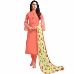 Rajnandini Orange Chanderi Silk Embroidered Semi-Stitched Dress Material With Printed Dupatta