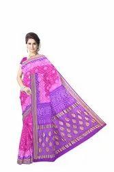 Lavender And Pink Color  Banarasi Georgette Saree