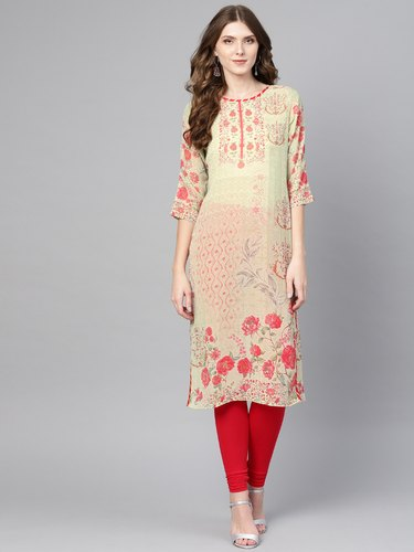 Ahalyaa 3/4th Sleeve Georgette Printed Kurti, Size: S to XXL