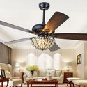 Ac 4 Modern Ceiling Decorative Fan With Crystal Lampshade