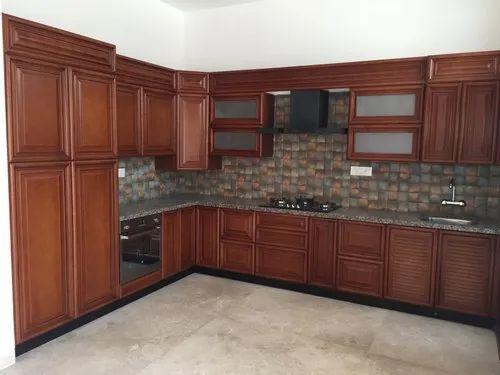 Classic Modular Kitchen In Wood Finish - Chennai, | ID ...