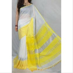 Party wear Plain Bordered Linen Saree, 6.3 m (with blouse piece)