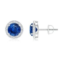 Handmade Jewelry In Sterling Silver Natural Blue Sapphire Studded Earring