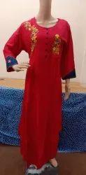 rayon embroidered kurtis