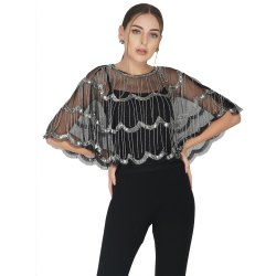 Black Embroidered Cocktail Wear 3 Tier Design Tulle Shrug, Age Group: 30-50
