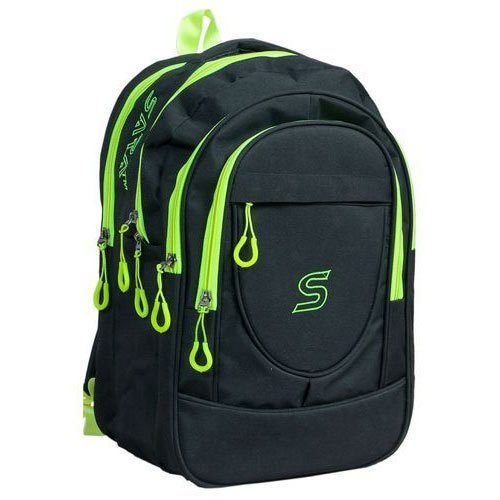 Black And Green Nylon School Bag