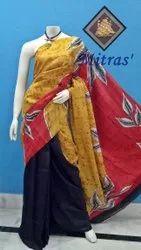 Mitras' Hand Batik Work Casual Wear Printed Silk Saree, 6.5 m ( with Blouse Piece )