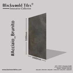 1600x3200mm Countertop Large format Porcelain Slabs Tiles Acciaio Brunito