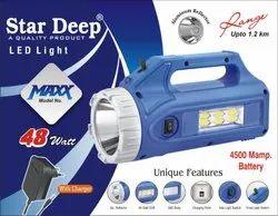 Plastic Stardeep Maxx 4V4.5 Kissan Torch 48 Watt, Capacity: Up to 4999 mAh, Battery Type: Lead-Acid