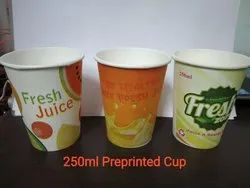 White Printed Paper Juice Glass, Size: 250ml
