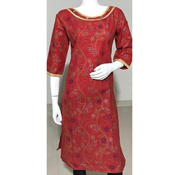 Red Gold Printed Cotton Kurti