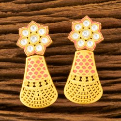 Brass & Copper Girls Kundan Matte Gold Plated Classic Earring 300157