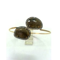 Gemstone and Pave Set Diamond Victorian Cuffs Bangle