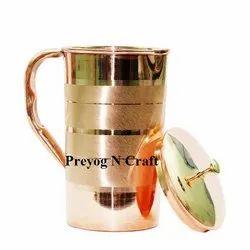 Natural Round Preyog Copper Jug for Home