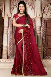 Maroon Embroidered Wedding Wear Saree