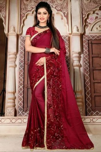 Maroon Color Art Silk Maroon Embroidered Wedding Wear Saree, With Blouse