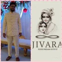 Party Printed Mens Off White Bandhgala Jodhpuri Suit, Size: M-XXL