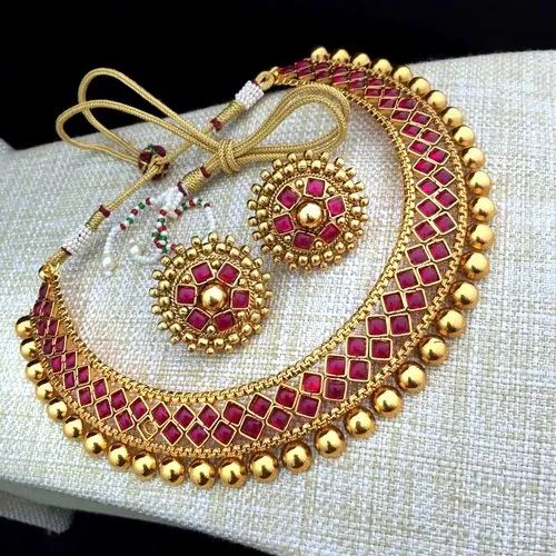 Sitashi Fashion Jewellery Gold Plated Red Necklace Set Gold