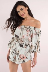 Essenceoutfit Printed Women Off Shoulder Rompers