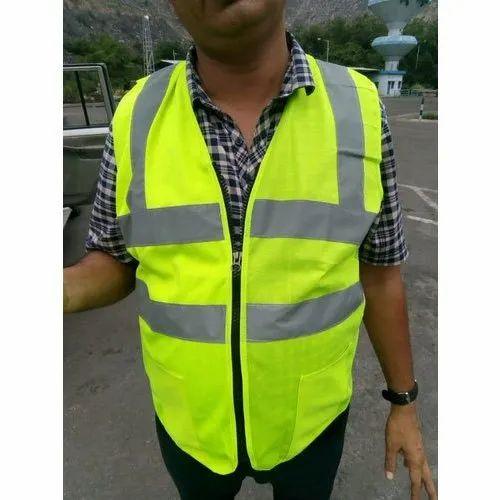 Green Plain Polyester Safety Jacket