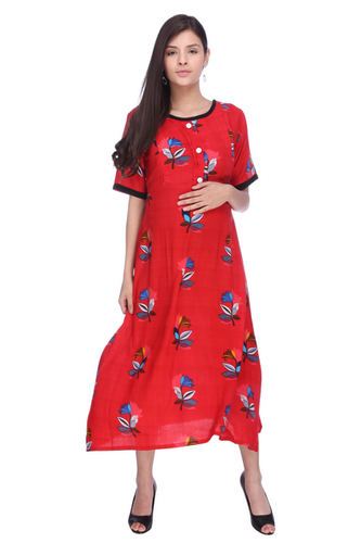 97b0a2bb220ee MomToBe Women's Rayon Hot Red Maternity Dress, Size: Large, Medium ...
