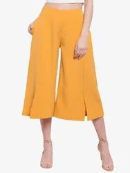 Women Banana Crepe/ Polyester Casual Wear Martini Mustard Wide Leg Front Slit Short Pant