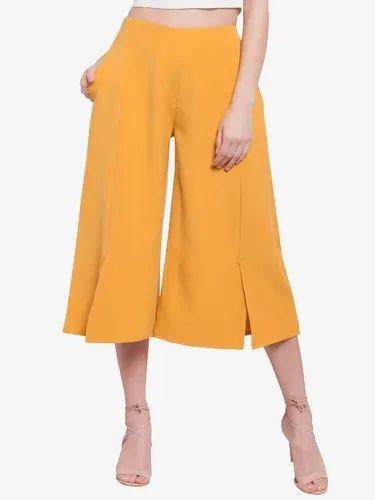 Women Banana Crepe/ Polyester Casual Wear Martini Mustard Wide Leg Front Slit Short Pant