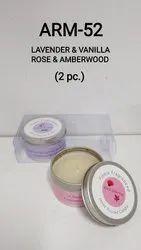 ARM-52 Tin Box Aroma Candles (2 Pc.) (Rose & Amberwood) (Lavender & Vanilla)