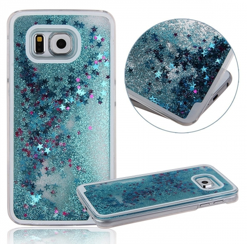 the latest 8463a 87146 Liquid 3d Shinning Glitter Star Back Cover For Samsung Galaxy Note 5 Blue