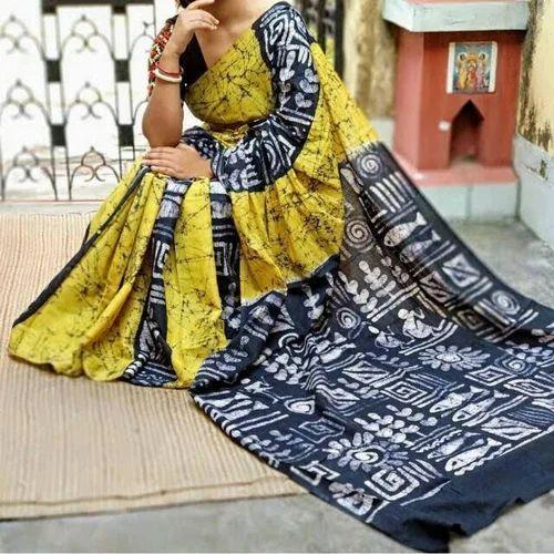 Mulmul Cotton Hand Batik Party Wear Saree, Length: 6.3 M
