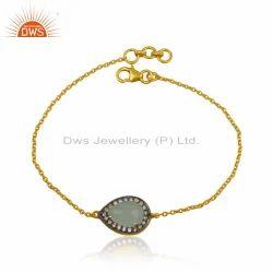 Gold Plated Designer Silver CZ Aqua Chalcedony Gemstone Bracelet Jewelry