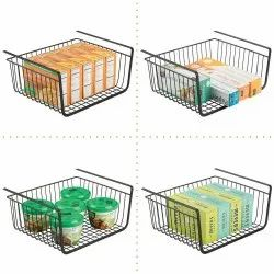 Black Stainless Steel Under Shelf Metal Storage Basket