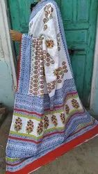 Party Wear Mul Cotton Sarees With Hand Block Print, 6.5 Meter With Blouse Piece