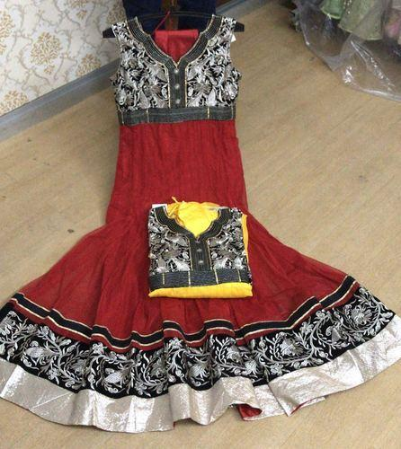 Dot Exports Stitched Border Anarkali Suits for Ladies