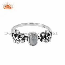 Rainbow Moonstone Gemstone 925 Silver Designer Rings