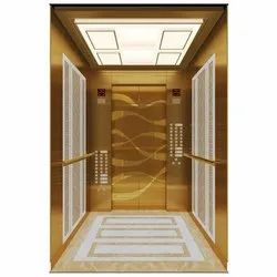 5-6 Person Stainless Steel Mirror Finish Wooden Elevator Cabin