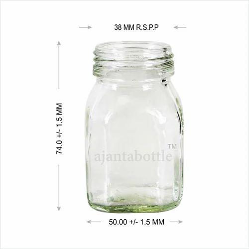 Honey Jars and Glass Bottles - 25 Gm Square Honey Glass Bottle